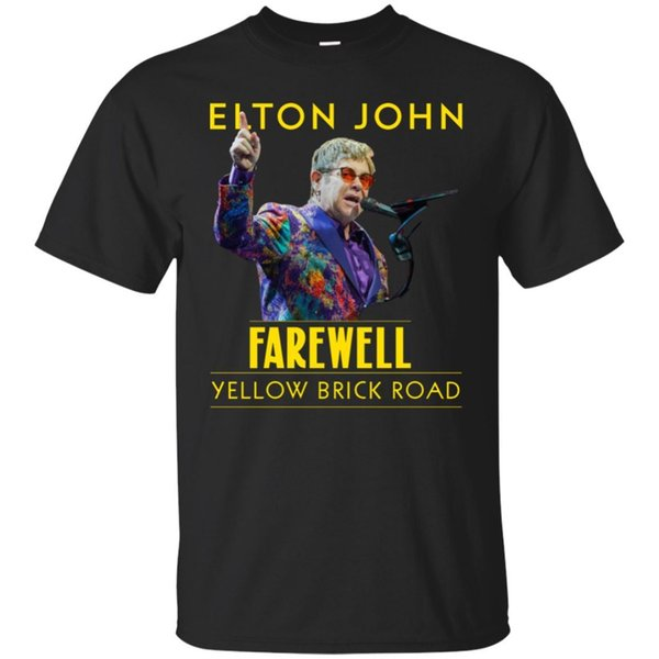 Elton John Tour 2018 Tee shirt Homme Jaune Brick Road Farewell Shirt Manches Courtes