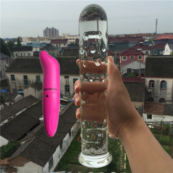 2 Pcs/Lot Vibrator And Pyrex glass crystal dildo penis Anal butt plug Sex toy Adult products for women men male masturbation Y18100801