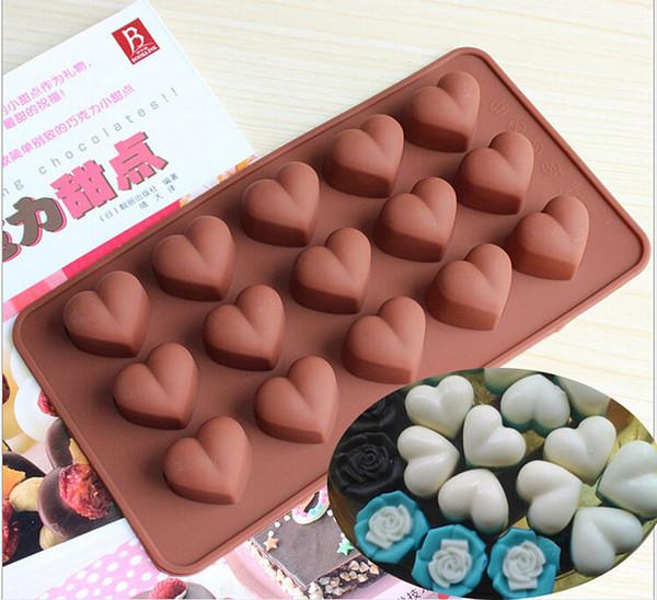 15 blocs Amour forme de coeur Moule à chocolat Moule à glace plateaux à glace ustensiles de cuisson bonbons gelée fabricant de pudding Valentine's Gift bricolage outil de cuisson