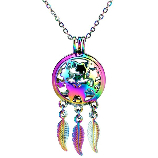C894 Rainbow Color Dream Catcher Butterfly Flower Round Ball Leaf Essential Oil Diffuser Aromatherapy Pearl Cage Locket Pendant Necklace