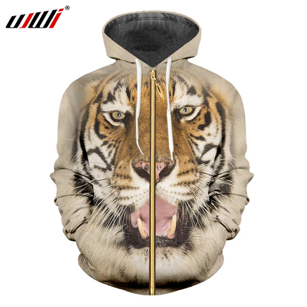 UJWI Winter Men's New 3O Printed Ferocious Tiger Pattern Couple Wear Sports Oversized 6XL Yellow Animal Man Zip Hoodies