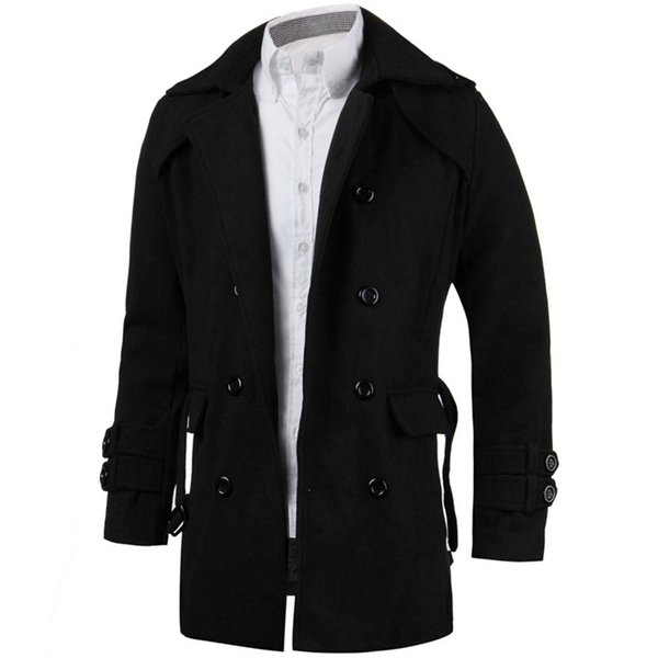 2018 Winter Men Jackets Trench Faux Wool Cardigan Business Outwear Clothes Double Breasted Belted Slim Fit Long Coat Windbreaker