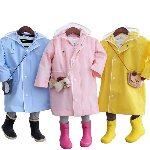 Impermeable Hooded Rain Coat Waterproof Poncho Yellow Children Girls Kids Raincoat Baby Casacos Camping Rain Cape Kids