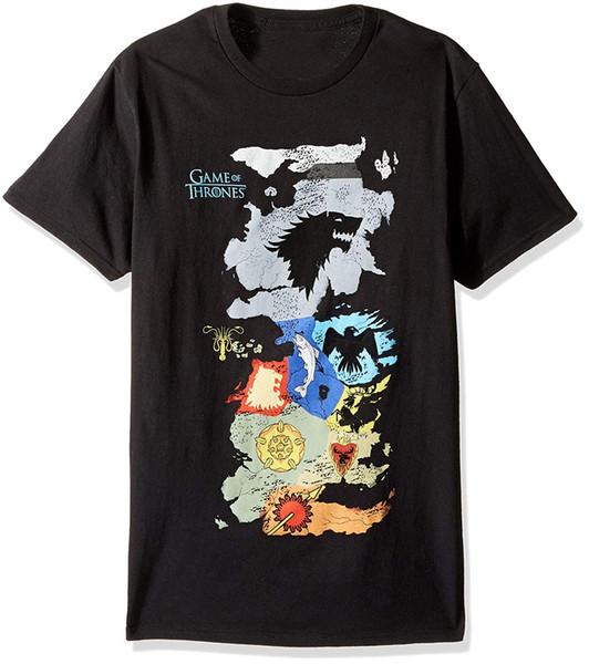 Hbo Spiel der Throne Männer Karte von allen Häusern Kurzarm T-Shirt