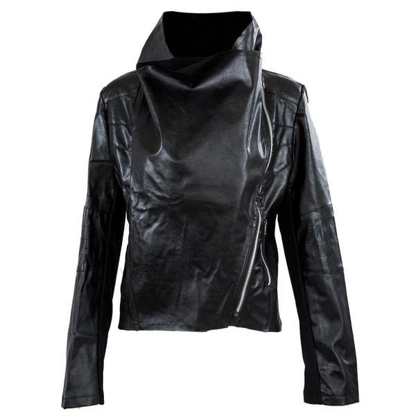 MOCH New Arrival Womens Slim Biker Motorcycle PU Soft Leather Zipper Jacket Coat Black Size S-XXL Most Fashion