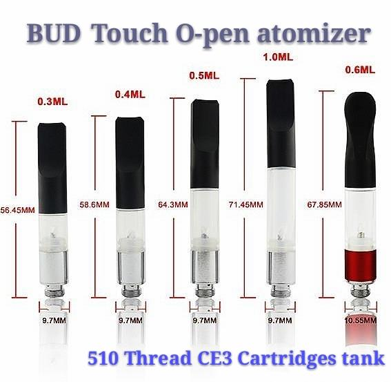 Top Quality BUD Touch Vaporizer WAX Thick Oil Atomizers 510 Cartridges O Pen CE3 vapor Waxy Smoking Mini Tank vape Co2 Cartridge vape