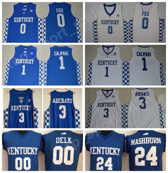 Kentucky Wildcats College 0 DeAaron Fox Jersey Men Basketball 00 Tony Delk  24 Jamal Mashburn 1 John Calipari 5 Malik Monk 3 Edrice Adebayo c47b89a5c