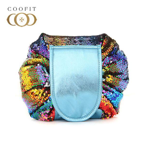 Coofit Fashion Make-up Tasche Dame Mädchen Multifunktionale Glitter Pailletten Kordelzug Faul Make-Up Beutel Kosmetiktasche 2018 Neue Ankunft