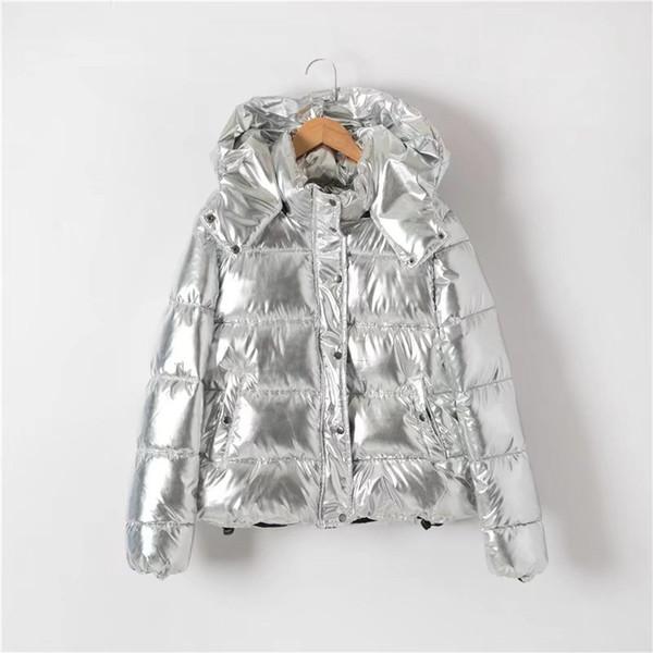 Stylish Winter Jacket Coat Metallic Silver Hooded Coat Women Parka Wadded Jacket Outerwear Clothings