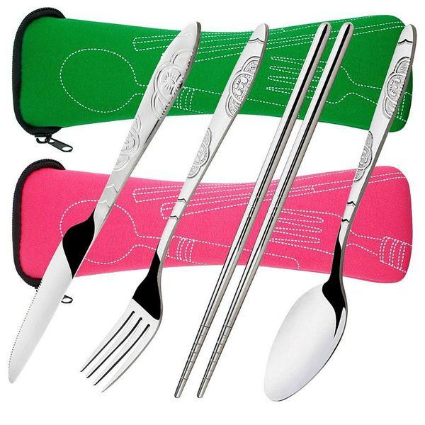 4 Piece Stainless Steel (Knife, Fork, Spoon, Chopsticks) Lightweight, Travel / Camping Cutlery Set with Neoprene Case