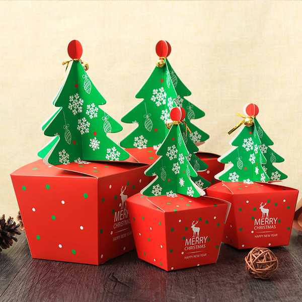 Commercial Christmas Tree.Merry Christmas Candy Box Bag 3d Christmas Tree Gift Box With Bells Paper Box Gift Bag Container Supplies Commercial Christmas Decoration Commercial