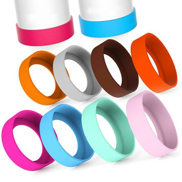 Silicone Rubber Cup Mug Pad Anti Scratch Drink Bottle Holder Coaster Vacuum Cup Nonslip Protective Sleeve Multi Colors Wholesale