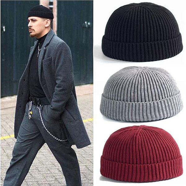 bf845e0bfe3 Men Knitted Hat Wool Blend Beanie Skullcap Cap Brimless Hip Hop Hats Casual  Black Navy Grey Retro Vintage Fashion New