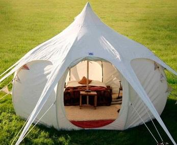top popular 2020 mew style DANCHEL OUTDOOR beige khaki cotton waterproof bell Lotus tent fast sale 2021