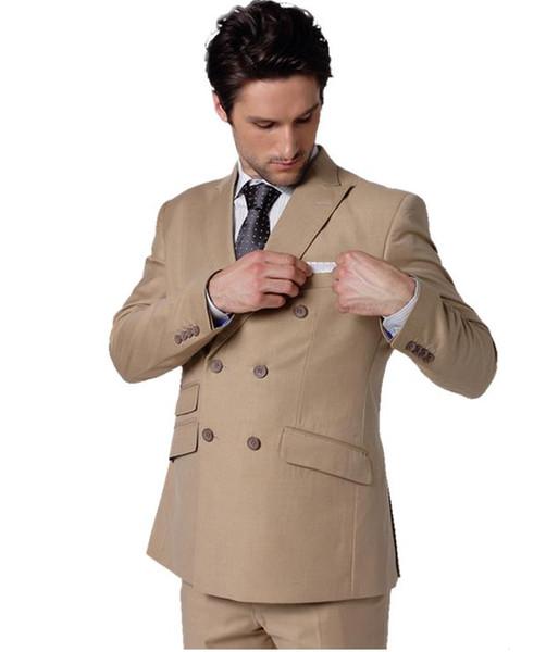 2018 Latest Coat Pant Designs Khaki Brown Double Breasted Wedding Suits for Men Blazer Slim Fit Custom 2 Piece Tuxedo Masculino