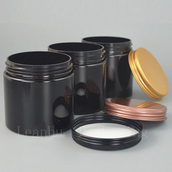 Preto Creme Plastic Jar Com tampa de alumínio parafuso, 200G Esvazie recipientes cosméticos, DIY caseiro recarregáveis Containers Maquiagem Embalagem