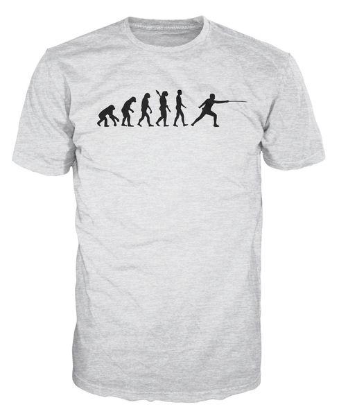Fencing Evolution Funny Swordsmanship T-Shirt T-shirt For Men White Short Sleeve Cotton Custom 3XL Party Tshirt