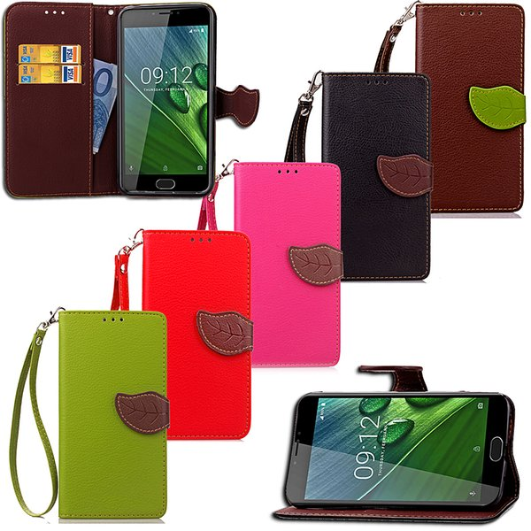 Leaf Shape Flip Cell Phone Soft PU Leather Wallet Case Cover for Acer Z6 Plus with Bank Card Holder Strong Hand Strap
