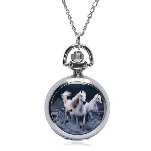 Запуск Лошадь Дизайн Кварцевые Карманные Часы Часы Ожерелье Цепь Xmas Подарки Женщины Девушка