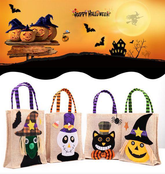 New Halloween Linho Sacos de Doces Criativo Dos Desenhos Animados Designer de Férias Festival Sacos de Decoração de Abóbora Gato Crianças Sacos de Presente À Noite