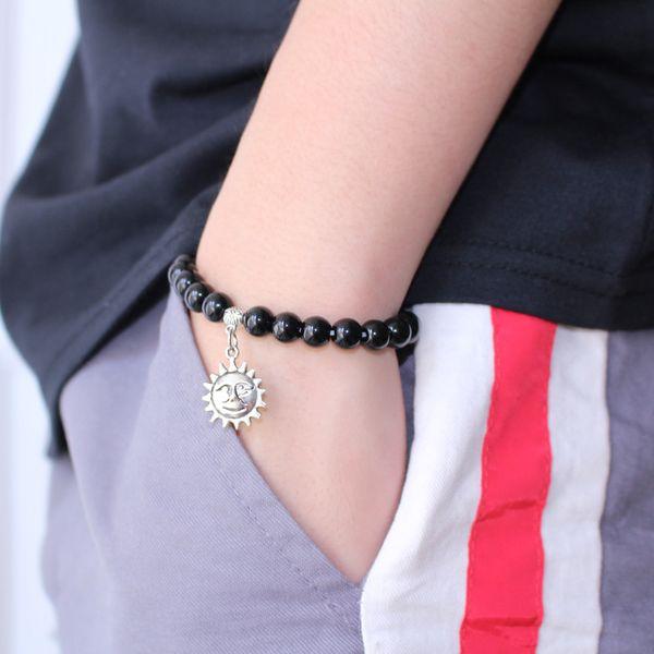 Coppia nero opaco pietra naturale Mala Bead Yoga Bracciale argento sole elastico corda tallone braccialetto moda uomo donna lega di gioielli