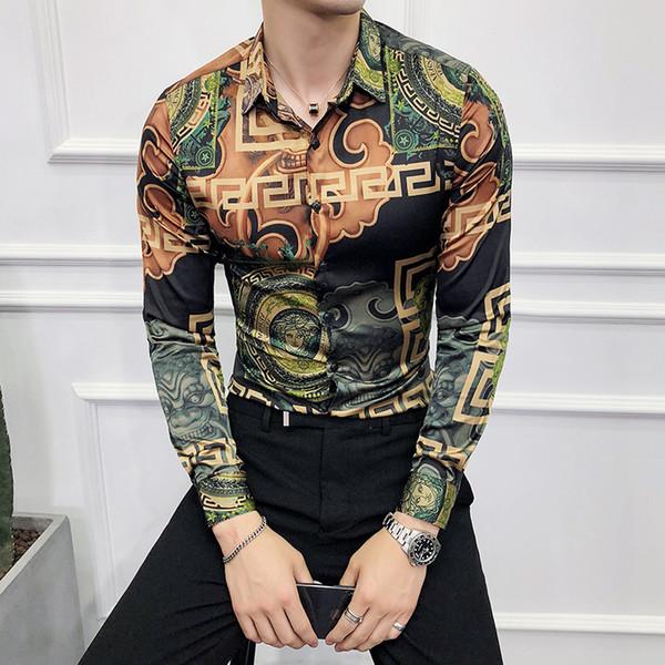 Autumn new British Korean nightclub style hairdresser clothing men Men's slim printed shirt European retro men's shirt