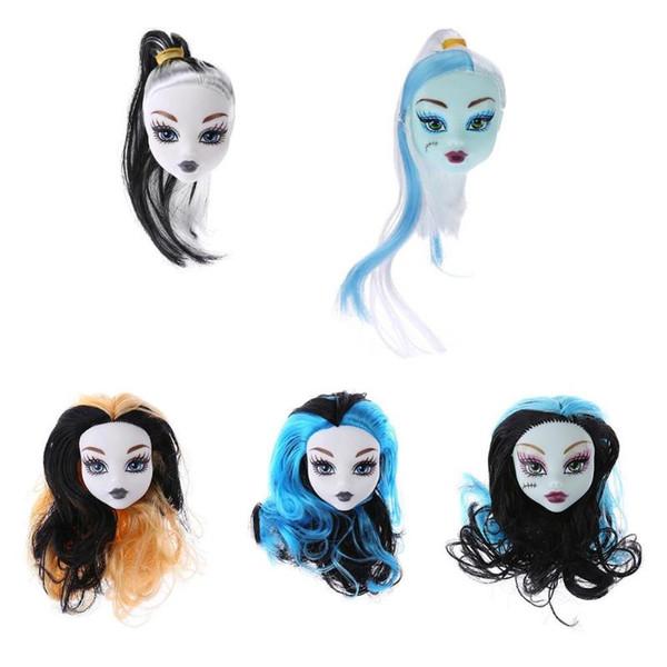 Cute Girls Doll Heads Colorful Demon Monster Hair Peluca Decoración Niños Juguetes Accerssories grils regalo muñeca Accerssories
