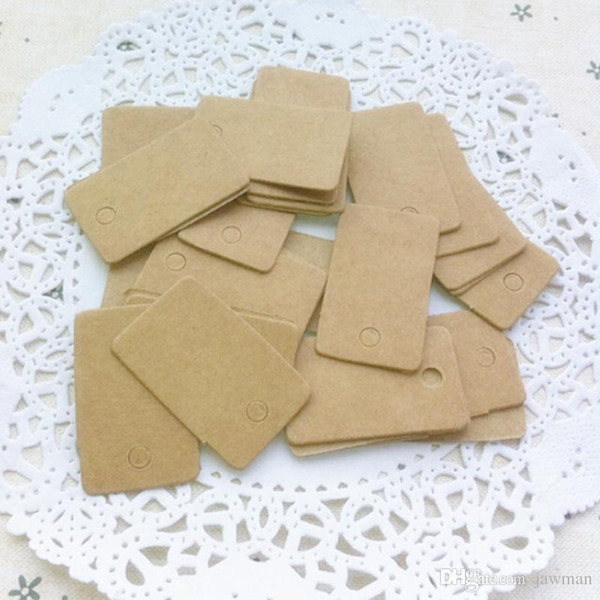 Wholesale- 100Pcs DIY Blank price Hang tag Kraft Gift Brown Kraft Paper Tags Label Luggage Wedding Note+String