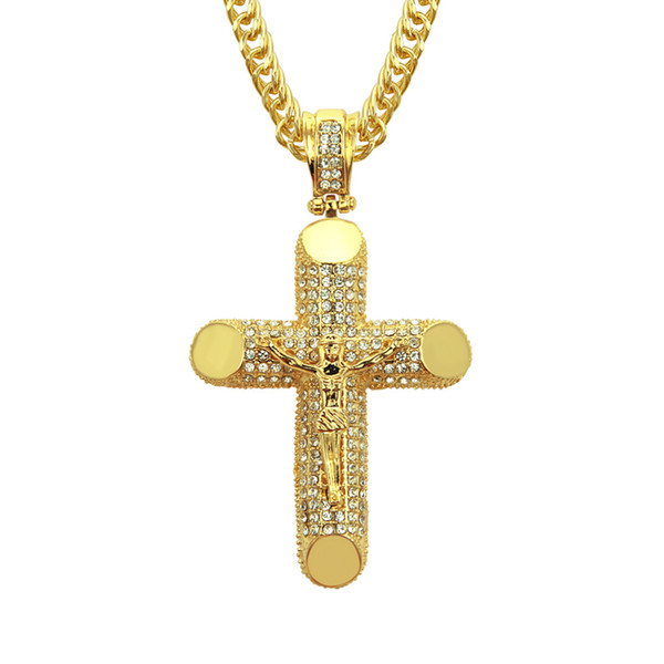 Eco-friendly high quality hiphop pendant necklace alloy gold plated cross crystal diamond hip-hop rap popular loved pendant necklace