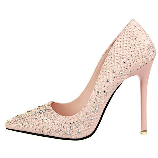 Sıcak Satıcı Renk Elmas Taklidi Toka Askı Parti Gelin Elbise Ayakkabı Kadınlar Yüksek Topuk 10.5 cm Düğün Ayakkabı
