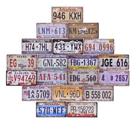 Digital license plate retro metal tin signs garage wall decoration plaque vintage iron painting art pub bar craft gift