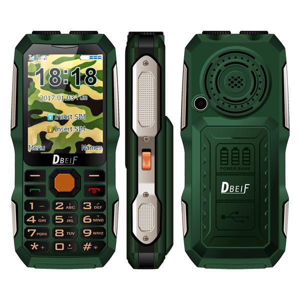 DBEIF D2016 Magic Voice Button Key Dual Flashlight FM Outdoor Shockproof MP3/MP4 Powerbank Antenna Analog TV Rugged Mobile Phone