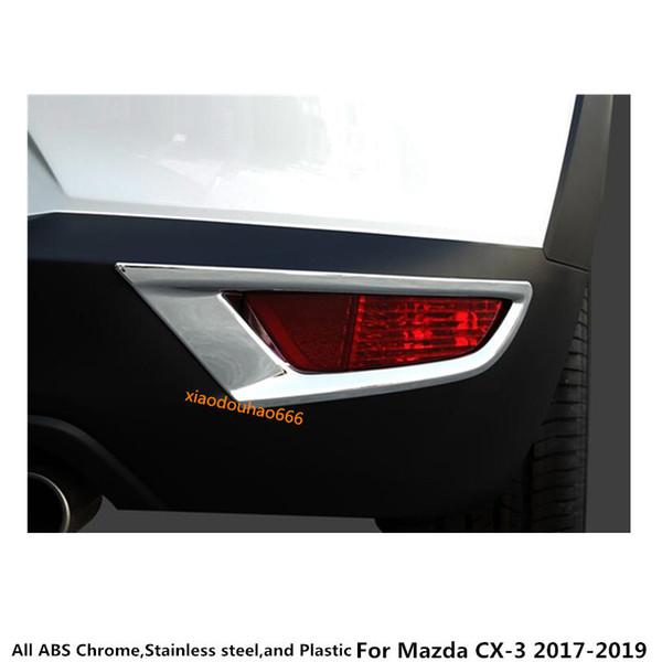 Heißer verkauf Auto styling körper ABS Chrom abdeckung trim zurück schwanz hinten nebelscheinwerfer haube lampe rahmen stick teil 2 stücke Für Mazda CX-3 CX3 2017 2018 2019