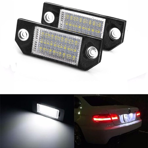 2Pcs No Error LED Number License Plate Light Lamp For Ford Focus MK2/C-Max MK1