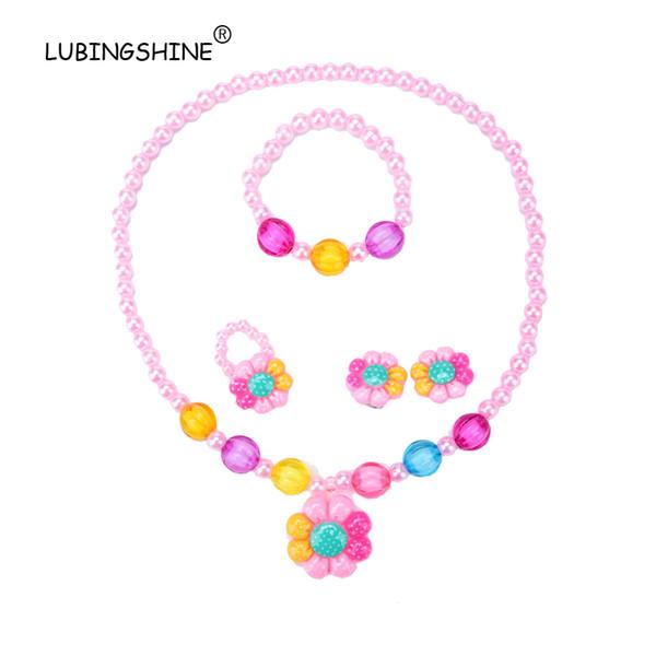 LUBINGSHINE Children Jewelry Sets For Girls Candy Color Bead Flower Pendant Necklace Bracelet Ring Earring Kids Girls Resin Set