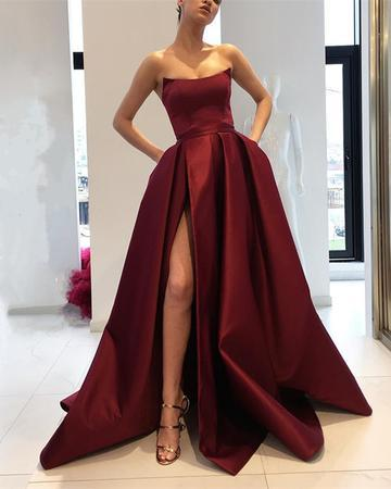 High Slits Evening Gowns Long Strapless Ball Gowns Satin Open Back Ruched Dark Red Prom Formal Party Dress Cheap