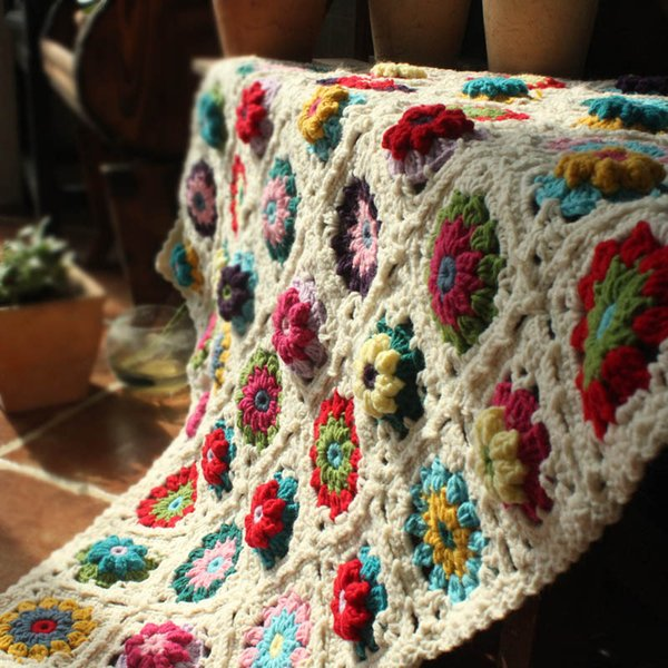 DIY Crochet Baby Blanket Cushion Colourful Stereo Daisy Mats Handmade Tablecloth Fashion Scarf Carpet For Wedding Table Runner