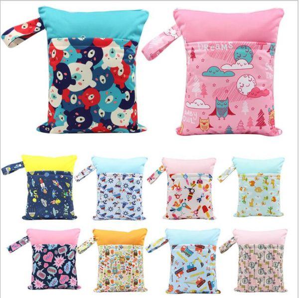 top popular 23 styles Double layer Baby Diaper Bags Nappy Storage Double Zipper unicorn animal print Diaper Stroller bag Diaper Bag Pocket KKKA5146 2021