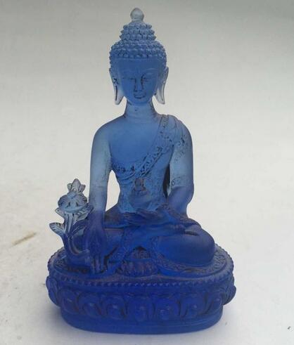 12 cm * / Rare Blue Chines Crystal Glass Liuli Buddha statue