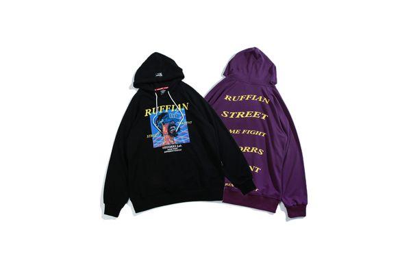 Atacado 2018 Estilo de Rua Carta Impressão Camisola Hip-hop Side Suture Bag Hoodie Popular Moda Pure Color Casal Hoodie