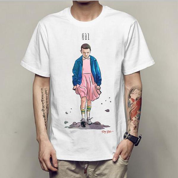 Cosas más extrañas Camiseta Hombres Modal Graphic Print Camisetas Tops Streetwear Camiseta para hombre Funny Anime Hip Hop Geek Camisetas Hip Hop Blanco