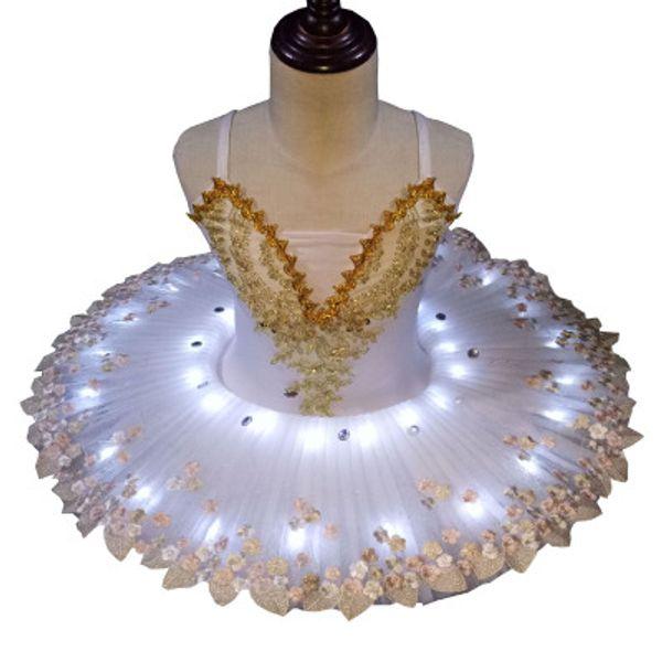 Professional Sequins Little Swan LED white ballet dance tutu dress for Children girl performance dress