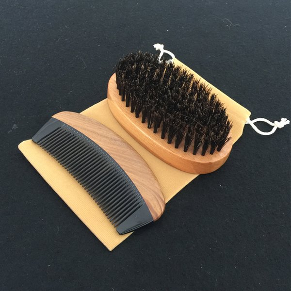 Hair Brush and Comb Kit Wholesale Supplier SandalWood Pocket Comb Boar Bristle Hair Brush Salon HairCut Fade Comb over Hair Beard Style