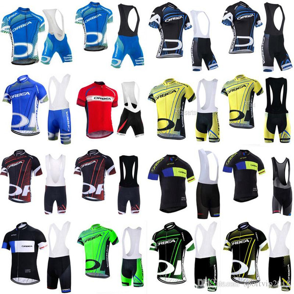 2018 Brand New Pro Team Orbea Men Short sleeve Cycling jersey 100%Polyester Quick-Dry Bike Clothes Mountain Bicycle Bib Shorts Set 3309