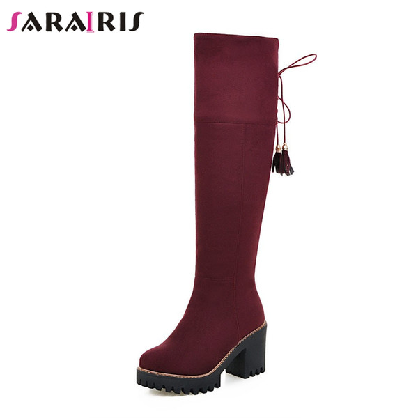 SARAIRIS NEW Square High Heels Zip Cross Tied Fringe Platform Shoes Woman Casual Autumn Winter Knee High Boots Big Size 33-43