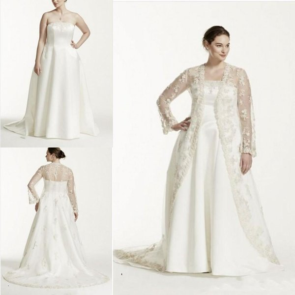 2018 Plus Size Two Pieces Wedding Dresses Strapless A Line Bridal Gowns With Sheer Long Sleeve Lace Jacket Custom Made Wedding Dresses