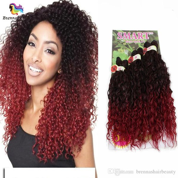 Free Shipping Marley Braids 6Bundles Synthetic Hair Weave Ombre Color Afro Kinky Curly Hair Extensions Smart Crochet Braiding Wefts