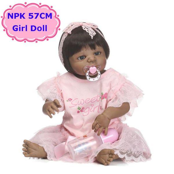 New 57cm NPK Full Body Silicone Bebe Toys Alive Black Girl Doll Lovely Kids Toys Hot Birthday Brinquedos For Girls