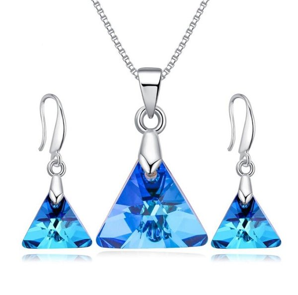 Swarovski Wedding Jewelry Blue Crystal Necklaces Pendant with Earrings Set Triangle Designer Fashion Jewelry for Women Party Gift