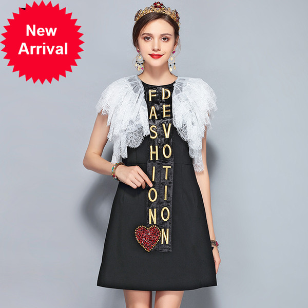 2018 Fashion Runway Summer Dress Women's Lace Sleeve Patchwork Letter Embroidery Crystal Beading Vintage Dress
